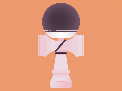 kendama kids game toy purple orange ball cup kendama fun logo icon world abstract design flat vector iconographic illustration