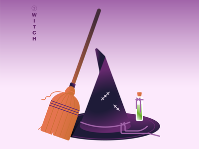 02. Witch 🧙♀️ gradients purple inktober2020 mintober with character icon abstract design flat vector iconographic illustration