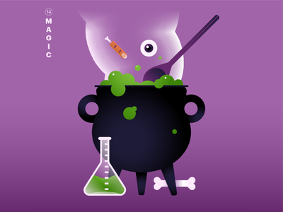 14. magic 👁🥣 green purple gradients inktober2020 mintober witches magic cauldron smoke texture typography character world icon abstract design flat vector iconographic illustration
