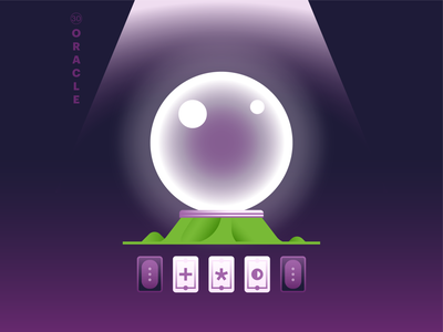 30. oracle 🔮 tarot cards crystal ball oracle cards green purple gradients tecture logo typography world icon abstract design flat vector iconographic illustration