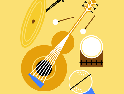 Simple Instruments drums guitar instrument fun icon character world design abstract flat vector iconographic illustration