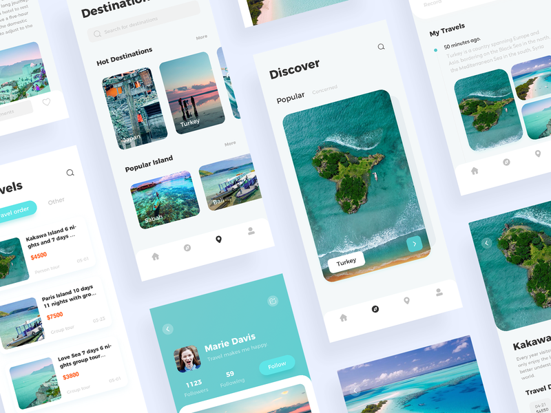Travel Page Collection ui app ux 设计 animation logo design