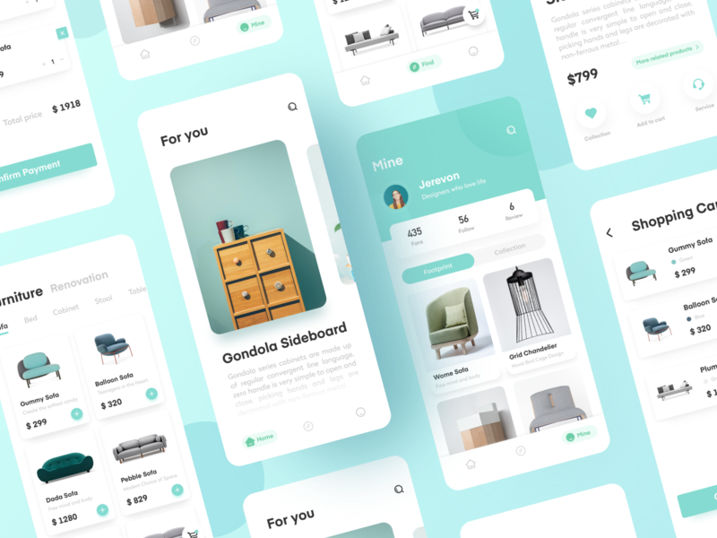 furniture page collection logo 向量 品牌 branding vector illustration app 设计 ux ui