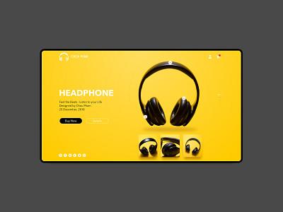 HeadPhone Landing Page choupham shots shot black yellow ui ux ui ux design