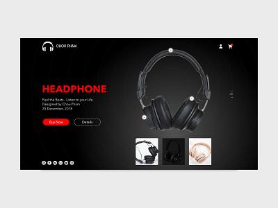 Black HeadPhone branding shot black ux ui ux landingpage showcase ui ux shots ui ux design design choupham