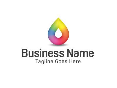 Multicoloured Droplet Logo print droplet ink drop multicolour vector design branding logo