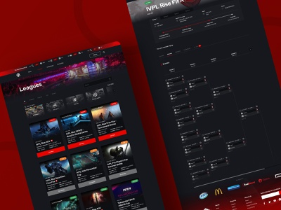 IVPL eSport Tournament Web timeline list view web design website design dark theme brackets leagues interaction design ux ui dailyui clean