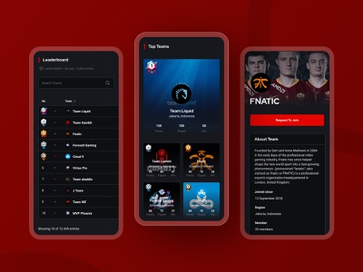 IVPL eSport Leaderboard Responsive list view mobile view dark theme website team games rank responsive design interaction design ux ui dailyui clean