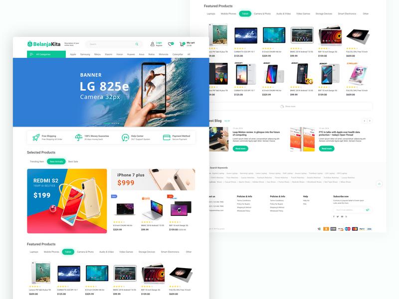 homepage e-commerce belanjakita web deisgn ecommerce smartphone dailyui interaction design ux ui clean