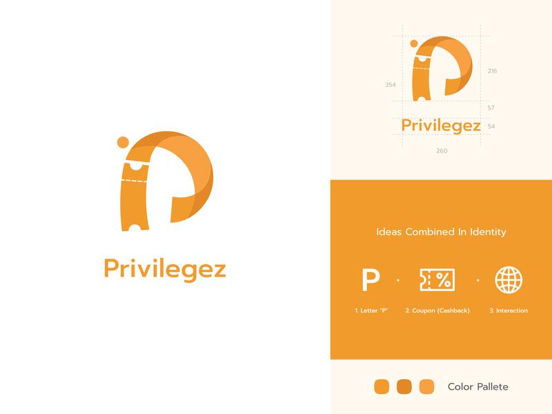 privilegez logo identity branding interaction p letter coupons cashback illustration logo clean