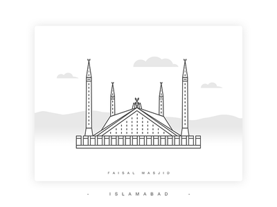 Faisal Masjid Illustration building landmark punjab lahore pakistan vector lineart illustration mosque faisal
