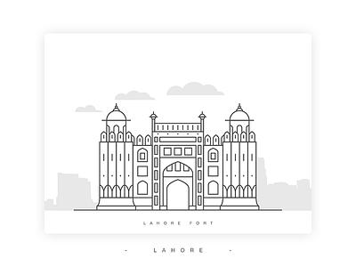 Lahore Fort Illustration shahi qila building landmark punjab pakistan vector lineart illustration fort lahore