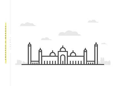 Emperor's Mosque | Minimal minimal vector flat lahore design islamic mosque illustration pakistan masjid badshahi emperor mosque