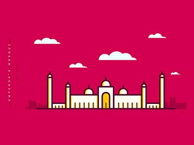 Emperor's Mosque | Minimal 05 vector flat lahore design islamic mosque illustration lineart pakistan masjid badshahi emperor mosque