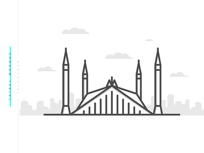 Faisal Masjid | Minimal graphic design lineart designer illustration design pakistan landmark building islamabad mosque masjid faisal
