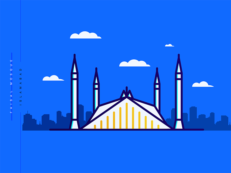 Faisal mosque minimal colored
