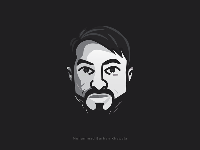 Avatar MBK | GS pakistan islamabad grayscale vector ux ui designer graphic burhan khawaja cartoon illustration avatar