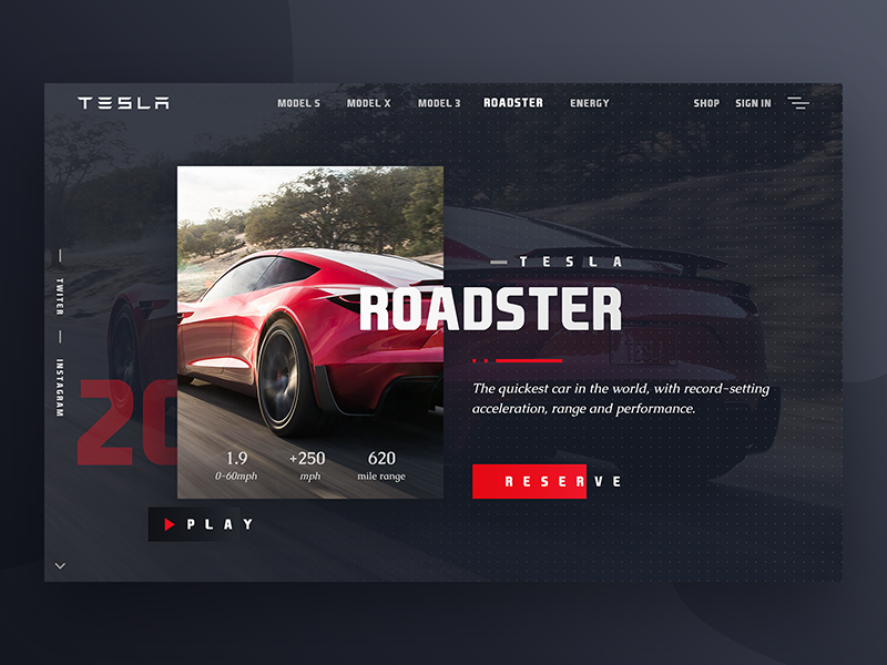 Roadster Web Design dark interface typography 2020 automobile tesla car header website ux ui web design roadster
