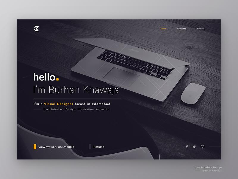 Minimal Portfolio dark typography graphic design header designer professional portfolio website interface ux ui web design