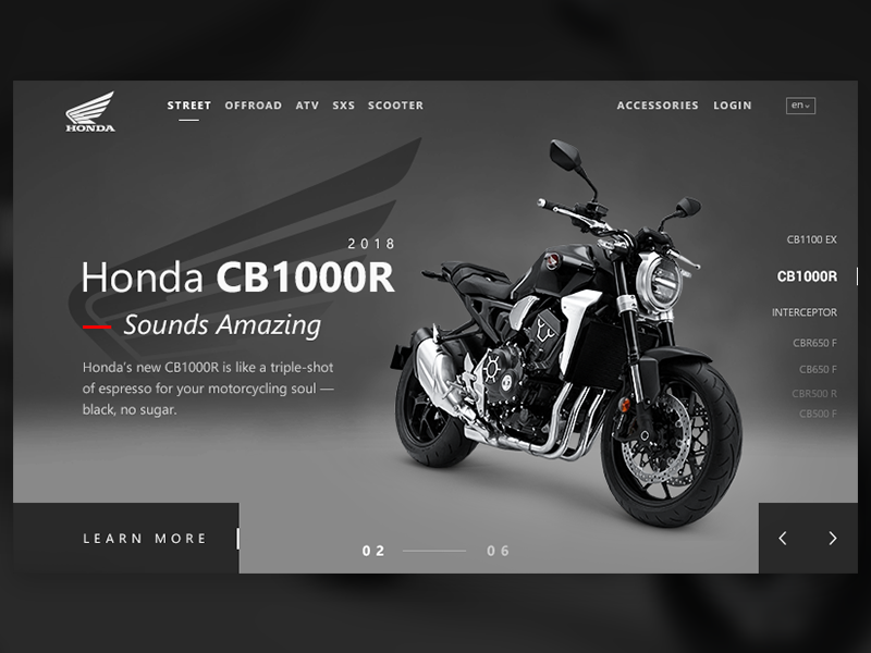Bikes Web Design dailyui header typography ux ui honda cb100r web design motorbike sports bike