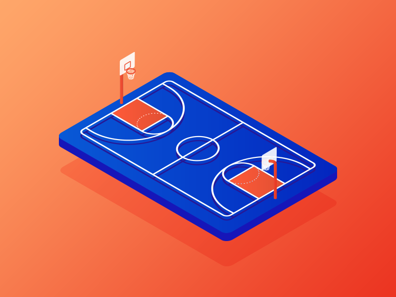 Basketball Court vector graphic design 3d 2d islamabad dribbble isometric illustration court basketball