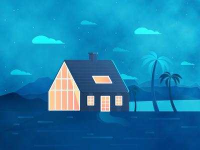 House / Landscape 3d 2d ux ui graphic illustration mountains sea beach night landscape house
