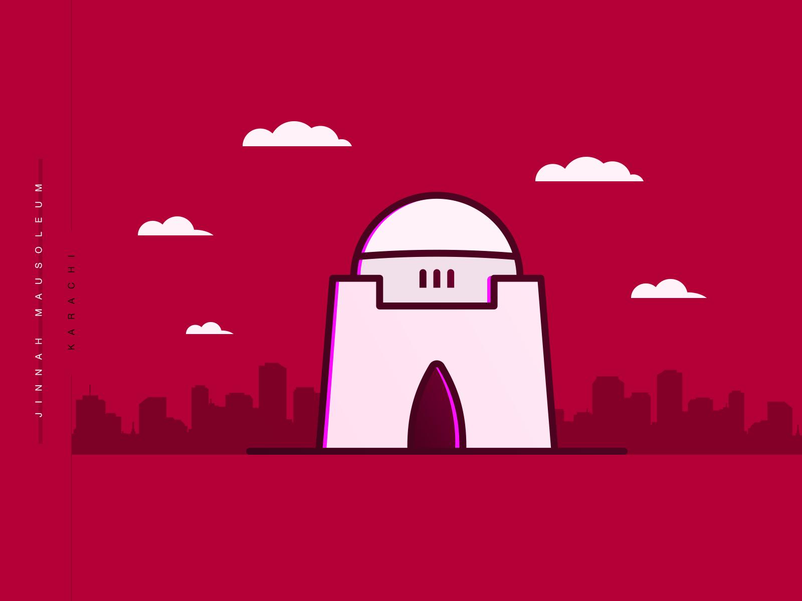 Jinnah mausoleum minimal colored