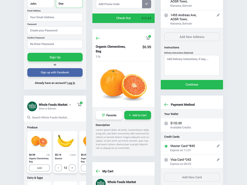 Grocery Store App ecommerce vegetables fruits add to cart products signup form store grocery light app ui ux user interface user experience design mobile iphone payment user centered design