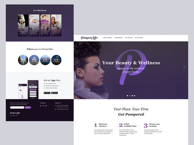 Beauty Services | Landing Page daily ui daily 100 template app landing page download app design feminine design ui  ux landing page website app home parlor salon services beauty