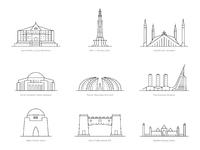 Illustrations landmarks pakistan