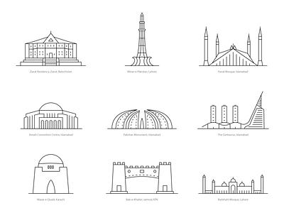 Landmarks Pakistan | Free art graphic free 14th august 23 march illustration line icons lineart vector badshahi mosque mazar e quaid khyber pass faisal mosque minar e pakistan islamabad monument buildings landmarks pakistan