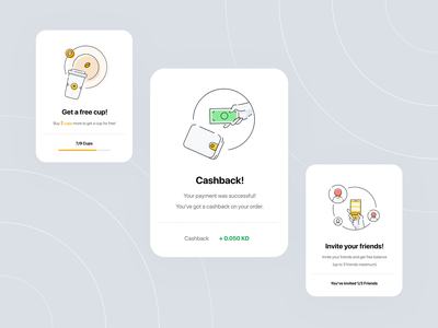 Popup Illustrations icons onboarding share app invite friends cup free cashback app coffee iphone popup web design ux ui mobile design popups illustration cupz