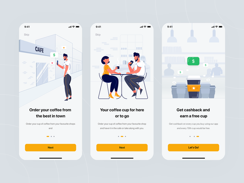 Onboarding — Cupz flat design people creative coffee designs free app mobile dating cup for here or to go cashback coffee cup order coffee cafe walkthrough design ux ui illustration onboarding