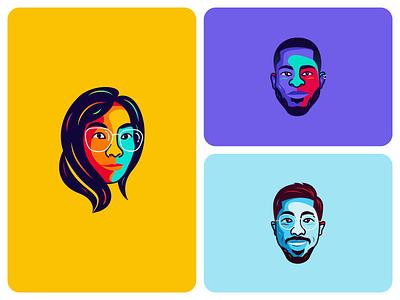 Avatars avatar icons face illustrations minimal pakistan uk usa vector illustration branding lineart art profile photo cartoon character vector illustration graphic designer face cartoon avatar