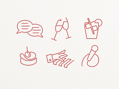 Evening Program Icons icons pictograms champagne talk speech piano
