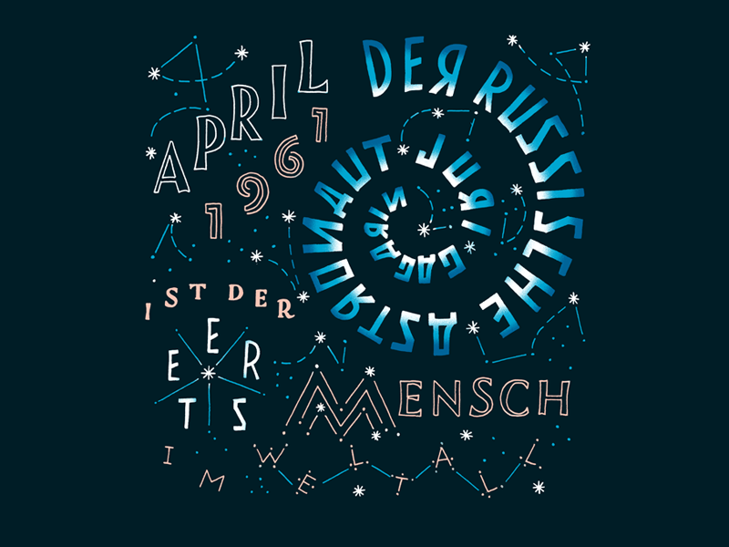 Kalender 2017 / April russia space gagarin lettering