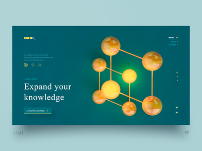 UI Exploration - Expand Your Knowledge inspiration interface cinema4d chemistry emm knowledge expand 3drender web design ui