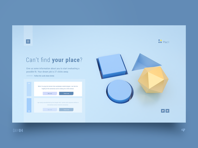 UI Exploration - Can't Find Your Place concept human resources human hr emm design inspiration web dailyui ui interface cinema4d 3drender