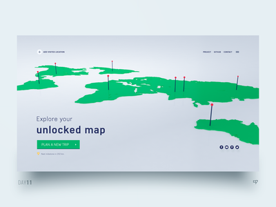 UI Exploration - Interactive travel companion travel map dailydesign concept design emm dailyui 3drender web ui interface inspiration
