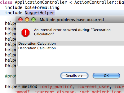 Aptana Decoration Calculation aptana error message rhymes