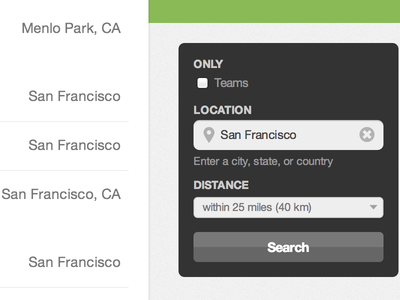 Job search by location and teams