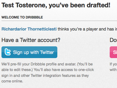 Sign up with Twitter dribbble twitter twitter apps sign up