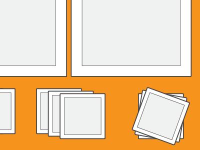 Shaded Squares orange grey white black technical drawing illustration line art square illustrator