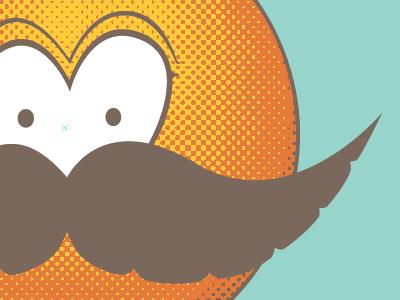 Screen'd unibrow guru illustration screen printing halftone pantone beep moustache stache eyes monobrow