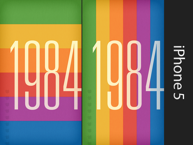 iPhone1984 + 5 univers iphone logo apple 1984 rainbow
