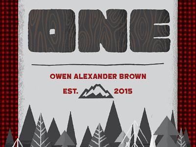 Owen's First Birthday thick lines thick type buffalo plaid woodgrain invitation trees lumberjack