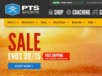 PTS Sports web design