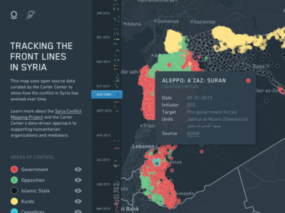 Tracking the Front Lines in Syria palantir map timeline dark philanthropy ui dashboard