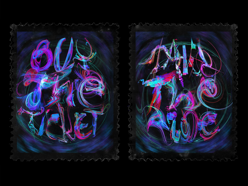 """""""BUY THE TICKET \ TAKE THE RIDE"""" lsd poster art fractals rendering typography fractal abstract art logo design calligraphy apophysis lettering"""