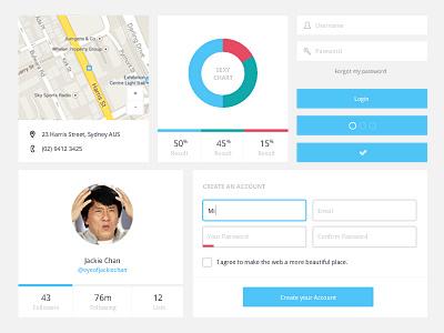 Freebie PSD: Minimal UI Kit  flat ui blue kit simple minimal freebie psd download profile forms buttons